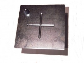 Plate with cross + leveling bolt, galvanized steel,14x14cm